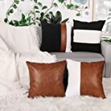 Adabana Decorative Faux Leather Throw Pillow Covers 18 x 18 Inch Set of 4 Farmhouse Boho Pillow Cases for Couch Living Room B