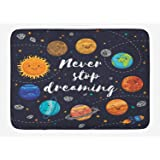 Ambesonne Quote Bath Mat, Outer Space Planets and Star Cluster Solar System Moon and Comets Sun Cosmos Illustration, Plush Ba