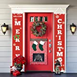MEYSIMOON Merry Christmas Decoration Banner,Home Outdoor Porch Sign for Xmas Holiday Front Door Wall Decor