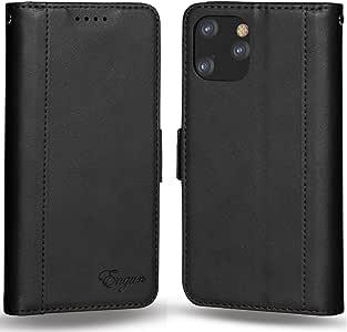 iPhone 11 Pro ケース 手帳型 iPhone 11 pro カバー 財布型 マグネット式 横置き機能付き カード収納 Qi充電対応 ストラップ通し穴 高級PUレザー Engun アイフォン11Proに対応 5.8in ブラック-sy45-