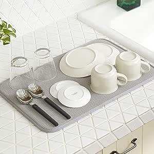 サンリーブス 水切りマット キッチン 食器乾燥マット マイクロファイバー 抗菌 (30 x 45cm グレー 全4種類)