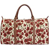 Signare Womens Fashion Canvas Tapestry Big Holdall Weekender Luggage Bag Poppy Design