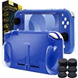 Orzly Grip Case for Nintendo Switch Lite – Case with Comfort Padded Hand Grips, Kickstand, Pack of Thumb Grips (Transparent/C