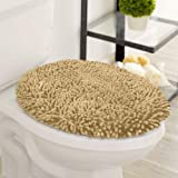 LuxUrux Toilet Lid Cover, Extra-Soft Plush Seat Cloud Washable Shaggy Microfiber Standard Toilet Lid Covers for Bathroom Mach