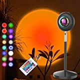 CRTHL Sunset Lamp - RGB 16Color Sunset Light, Projector Rainbow Light 180 Degree Rotation USB Charging Projection Led Night L