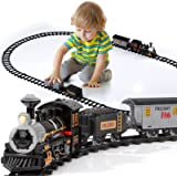 Lucky Doug Electric Train Set for Kids, Battery-Powered Train Toys with Light & Sounds Include Locomotive Engine, 3 Cars and