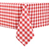 Locika Rectangle Checkered Tablecloth,Waterproof Spillproof Plaid Tablecloth,Washable Wipeable Table Cloth,Wrinkle Free and S