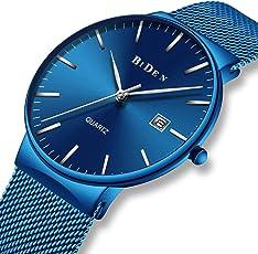 腕時計 メンズ時計 アナログクオーツ防水ウオッチ シンプルデザイン 曜日付け 日付カレンダー ビジネス カジュアル ラグジュアリー男性腕時計