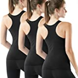 ATHLIO 3 Pack Women's Racerback Workout Tank Tops, Running Exercise Gym Shirts, Dry Fit Yoga Athletic Tank Top