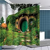 BTTY Shower Curtain Art Printing Hobbit Living Cabin Bathroom Curtains Fabric Bath Accessories Set Fabric Bathroom Decor with
