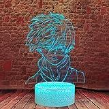 My Hero Academia Shoto Todoroki Face Design 3D Illusion Night Light LED MHA Anime Lamp Desk Décor