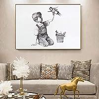 バンクシーゲームチェンジャーナーストリビュートウォールアートキャンバス絵画ポスターと写真のためにオフィス病院リビングルームベッドルーム装飾/ 60x90cm(フレームなし)