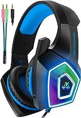 Micolindun V1[虹色LED] ヘッドセット ps4 ゲーミング ヘッドセット ヘッドホン ヘッドフォン pc ゲーミングイヤホン ゲーム用 マイク付き プレステ4 ps4 プレイステーション4 xbox スイッチ switch fps 対応 ブルー