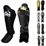 (Small, Black/Black) - Top King Shin Guard Protector Empower Creativity Superstar Colour Black White Size S M L XL for Protec