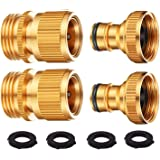 DIRECT MFG Garden Hose Quick Connect 2 Sets - Male and Female GHT Solid Brass Hose Connectors for Garden Hose Fittings - Choo