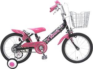 ロサリオ 16インチ ブラックピンク 補助輪付き 組み立て式 子供用自転車 幼児自転車