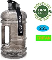 RICWINANN Water Jug 2.2L Large Sport Water Bottle Big Capacity Leakproof Container BPA Free Plastic with Carrying Loop...