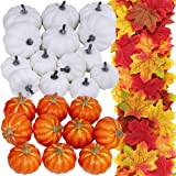 24 Pcs Bulk Assorted Artificial Orange White Pumpkins 250 Pcs Fall Artificial Maple Leaves Fall Wedding Party Table Fireplace