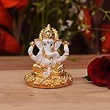 CraftVatika Gold Plated Ganesha Idol Showpiece for Car Dashboard - Hindu Lord Ganesh Ganpati Statue Figurine God of Luck & Su