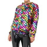 Islander Fashions Womens Mermaid Rainbow Fish Bomber Jacket Ladies Metallic Summer Party Coat S/XL AU 8-18