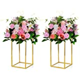 Nuptio 2 Pcs Metal Flower Floor Vase Column Flower Stand Geometric Centerpieces Vase for Tables, 15.75in Tall Gold Flower Hol