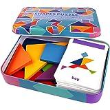 Generic 子供 タングラムパズル パターンブロック パズルセット 60カード 鉄ボックス付き 色ソート スタッキングゲーム 3 4 5歳向け