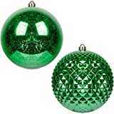 KI Store Large Christmas Ball Ornaments Green Oversize Decorative Hanging Ornament Mercury Balls 8 Inch Oversize Shatterproof
