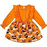 HAPPYMA Infant Toddler Baby Girls Halloween Dress Ruffled Button Pumpkin Printed Long Sleeve Denim Skirt