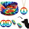 Hicarer Hippie Costume Set Include Sunglasses, Headband, Peace Sign Necklace and Earring