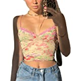 Women Lace Patchwork Crop Top Sexy V Neck Spaghetti Strap Tank Cami See Through Camisole Shirt Y2k E Girl Clothes