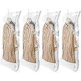 TAILI 圧縮袋 衣類圧縮袋 吊るせる圧縮袋 4枚入 コート収納袋 季節転換用 掃除機対応 省スペース 防湿気 防埃 防虫 カビ ダニ対策 抗菌効果 繰り返し利用可能