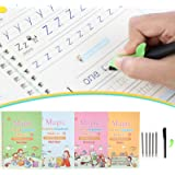 Gigilli Magic Practice Copybook for Kids, Reusable Magic Calligraphy Tracing Handwriting Copybook Set, English Version Writin