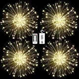 FOOING 4Pcs 120 LED Copper Wire Firework Lights Battery Operated Fairy Lights with Remote,8 Modes Starburst Lights Waterproof