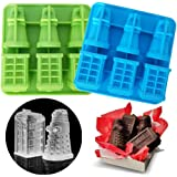 Set of 2 Doctor Who Ice Cube Trays, Tardis & Daleks Silicone Ice Mold, Mousse Cake Muffin Baking Pan, Jello Chocolate Candy G