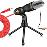 PC Microphone with Mic Stand,Professional 3.5mm Jack Recording Condenser Microphone for Video Recording Studio Streaming Exte