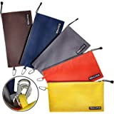 Canvas Tool Bag - 5 Pack Heavy Duty 16 oz. Tool Pouch Tote Bag 12.5 x 7 Color Coded with Metal Zipper Carabiner Clip - Multi