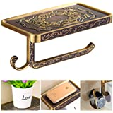 Fredysu Bronze Toilet Paper Holder,Pivoting Anti-Rust Antique Brass Carved Wall Mounted Toilet Paper Holde with Multi-Purpose