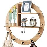 ALA7 Bamboo Decorative Wall Mounted Floating Shelf, Creative Display Home Decor Hanger with 5 Hooks, Rustic Wall Storage Shel