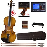 Cecilio CVN-500 Solidwood Ebony Fitted Violin with D'Addario Prelude Strings Size 4/4 (Full Size)