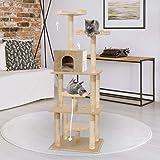 PaWz 1.98M Cat Scratching Post Tree Gym House Condo Furniture Scratcher Tower 198cm in Beige
