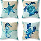 Set of 4 Square Throw Pillow Covers 18x18 Inch - Cotton Linen Throw Pillow Cover Blue Ocean Theme Starfish Sea Turtle Printed
