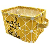 Mziart Small Foldable Canvas Storage Basket Cotton Fabric Mini Portable Storage Bin Nursery Organizer Box for Makeup Toys She
