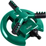 Aolun Garden Sprinkler- Automatic Lawn Water Sprinkler 360 Degree 3- Arm Rotating Sprinkler System