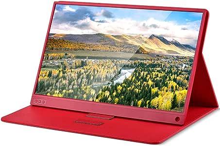 TOPOSH 最新版赤色15.6インチ モバイルモニター モバイルディスプレイ 薄い軽量モニター 1920x1080フルHD IPSパネル USB Type-C/miniHDMI/mini DPモニター PS4/switch/Xbox/任天堂ゲームモニター ポータブルディスプレイ Portable Monitor