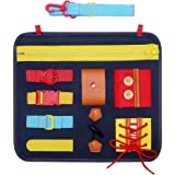 Toddlers Busy Board, SIMBOOM Basic Skills Activity Board for Early Learning Life Skills - Developmental Toys with Zippers, Bu