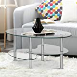 Artiss 3-Tier Tempered Glass Coffee Table - 88(L) x 45(W) x 46(H) cm