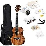 Enya OMS 04 Concert Ukulele Koa Top Bundle 23 Inch Ukelele with Padded Gig Bag, Strings, Tuner, Strap, Capo, Picks, Polishing