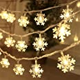 Christmas Lights, 20 Ft 40 Led Snowflake String Lights Battery Operated Waterproof Fairy Lights for Bedroom Patio Room Garden