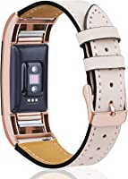 [Most Viewed] for Fitbit Charge 2 Bands, Hotodeal Classic Genuine Leather Wristband with Metal Connectors, Fitness Strap...