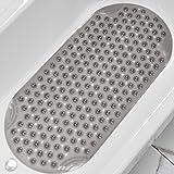 "DEXI Bathtub Mat Non Slip Shower Floor Mats for Bathroom Bath Tub Washable Suction Cup 16""x35"",Clear Gray"